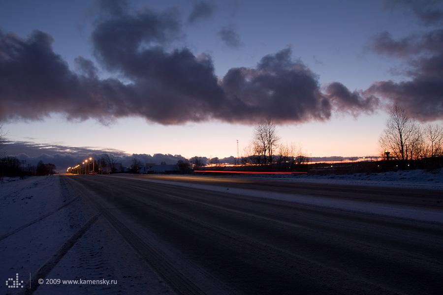 Въезд в Сергиев Посад с севера, первый вечер Нового года 2009.