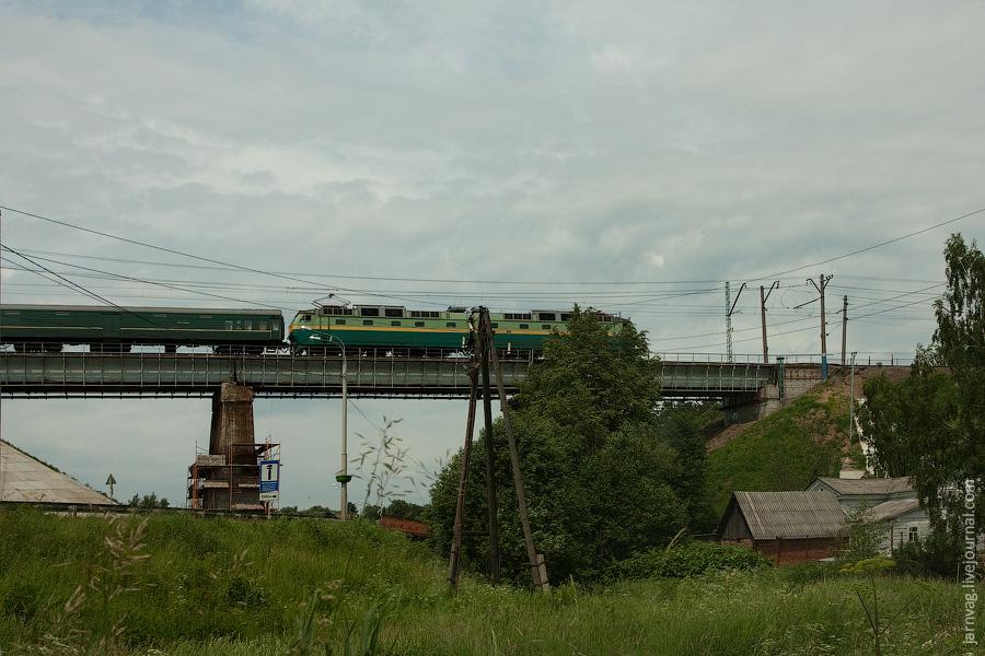 Железная дорога, мост, Хотьково, ЧС7