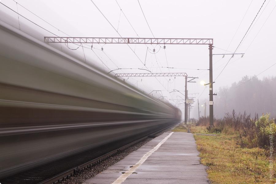 Илейкино, сумерки, БМО, силуэты поезда
