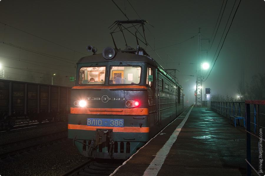 Станция Софрино, ночные фотографии, ВЛ10-386