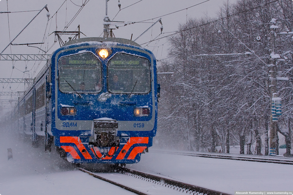 Московская область, зима, снегопад, Ярославское направление МЖД