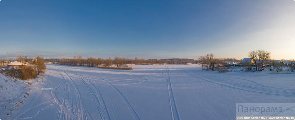Зима, Мороз, Природа, Нерль, следы снегохода