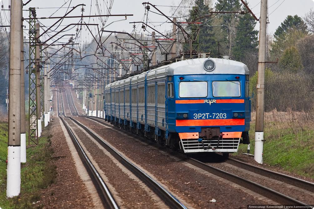 Перегон Софрино - Хотьково, платформа Радонеж, Электропоезд ЭР2Т-7203
