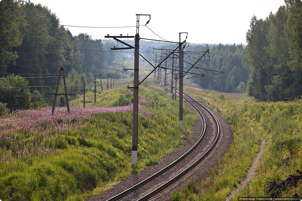 БМО, платформа 62 км, электропоезд ЭР2, мост через реку Воря