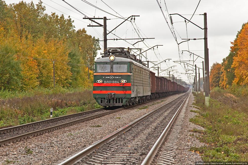 БМО, станция Ратчино, платформа Ратмирово, вЛ10у-884 с грузовым составом