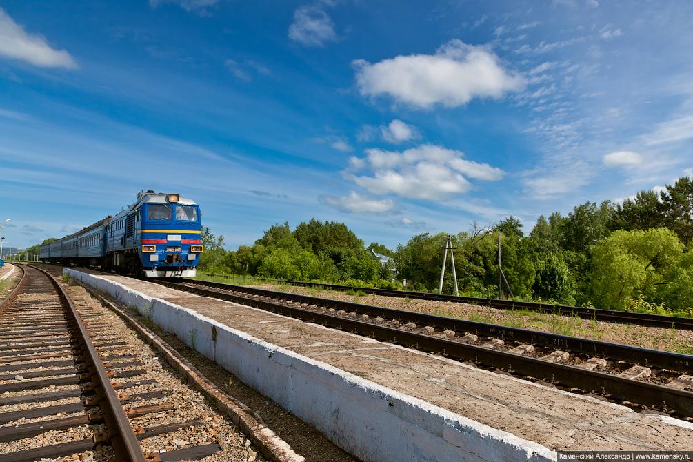 Амурская область, тепловоз 3М62У-0023 с пригородным, Забайкальская железная дорога