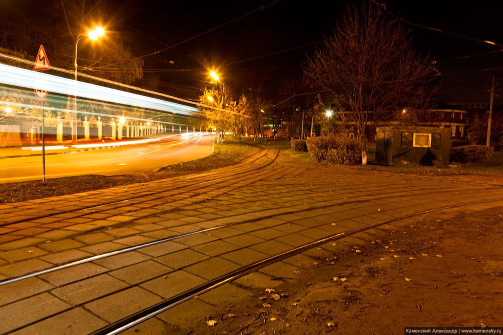 Москва, ночная фотосъемка, трамвай, фотография
