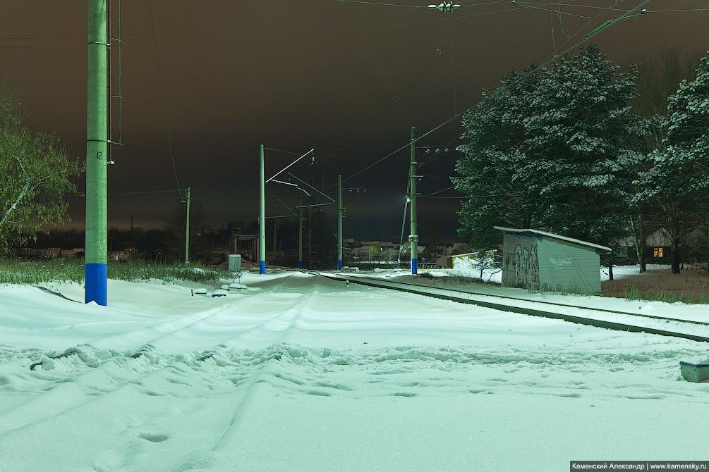 Красноармейск Московской области, ночные фотографии, станция Красноармейск