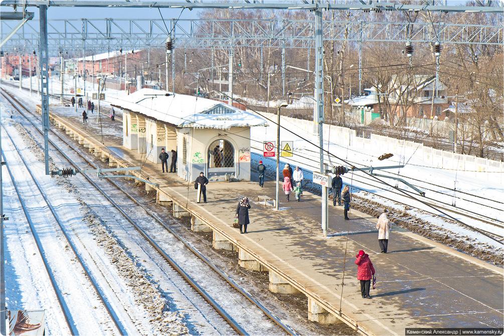 Горьковское направление, станция Электроугли, скоростная контактная подвеска