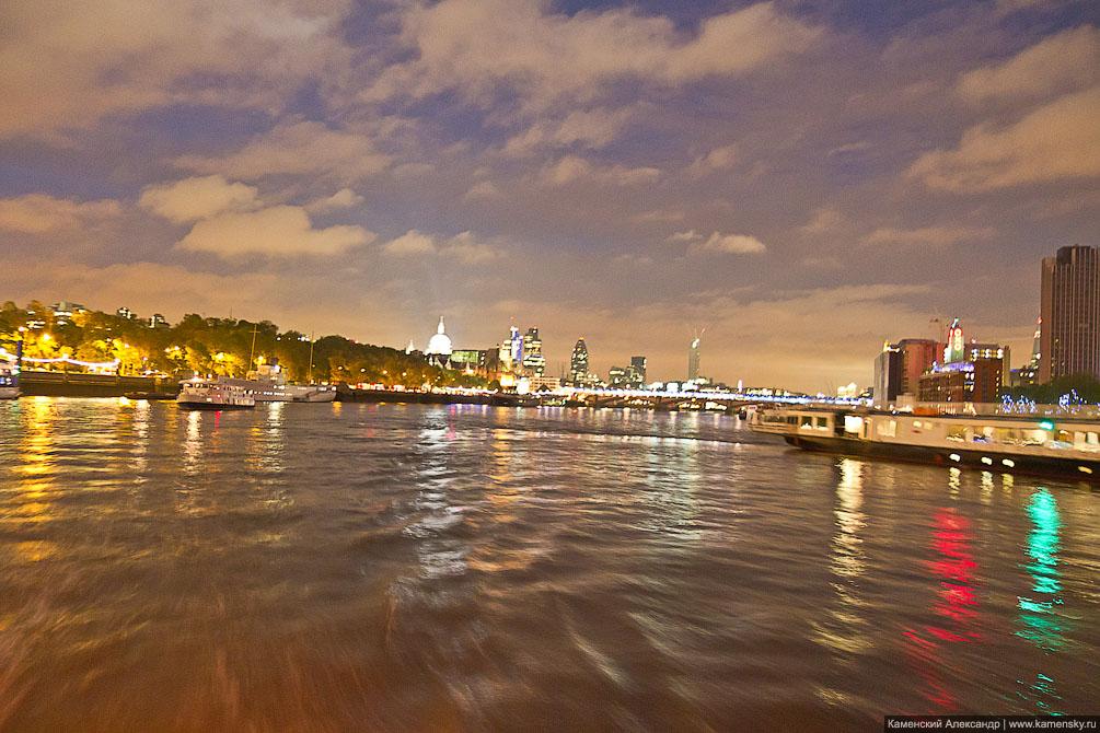 Лондон, Ночная панорама Лондона с Темзы, Великобритания