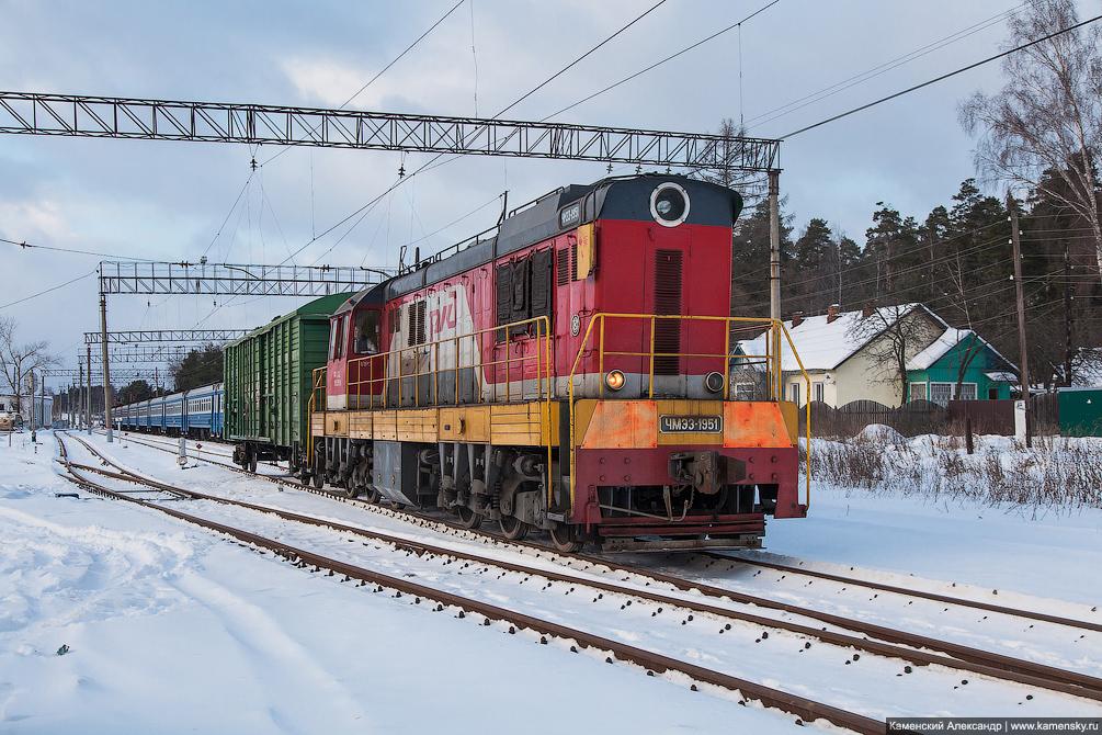 станция Красноармейск, Московская область, Ярославское направление, железная дорога, тепловоз ЧМЭ3-1591
