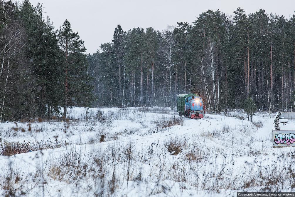 зима, станция Красноармейск, Московская область, Ярославское направление, железная дорога, подъездной путь, тепловоз ТГМ4
