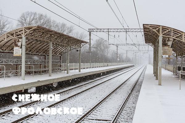 Московская область, Московское направление ОКТ, зима, снегопад, платформа Фроловское