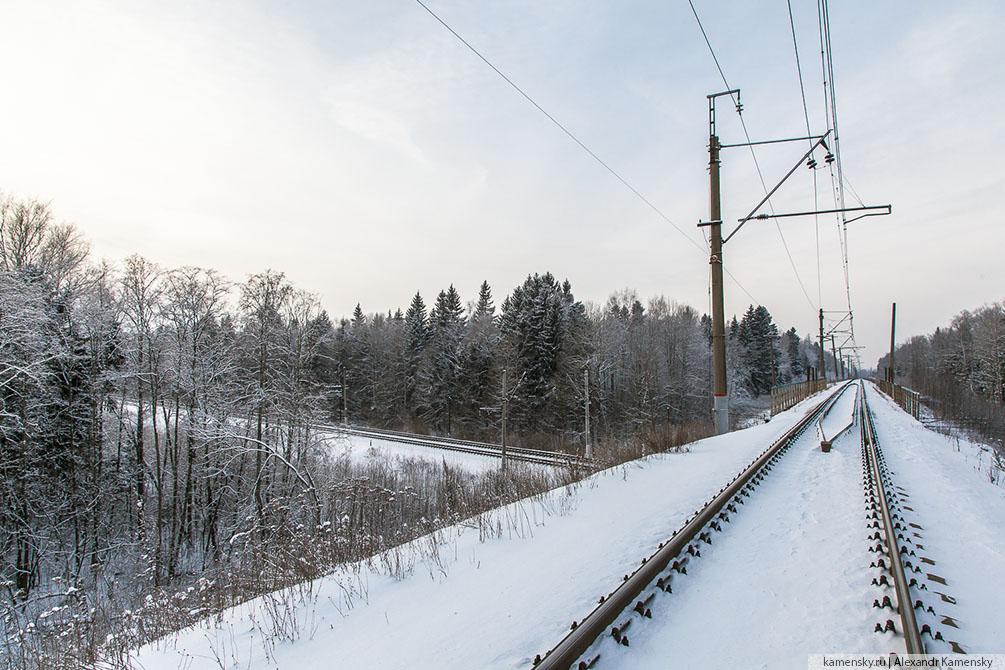 зима, железная дорога, Московская область, Ярославское направление, паровоз, поезда