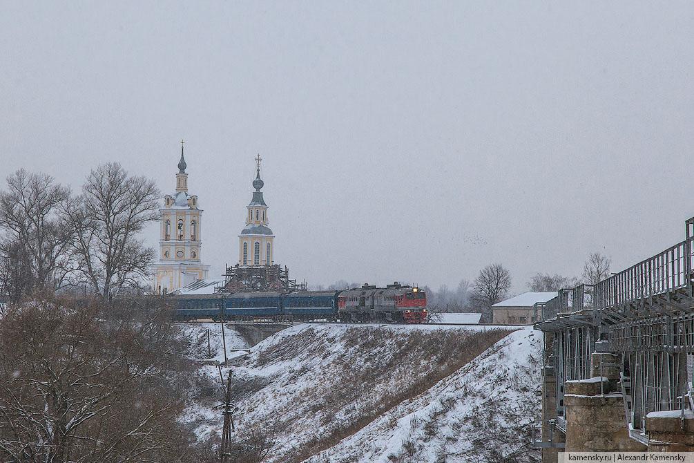 зима, железная дорога, Калужская область, Тульская область