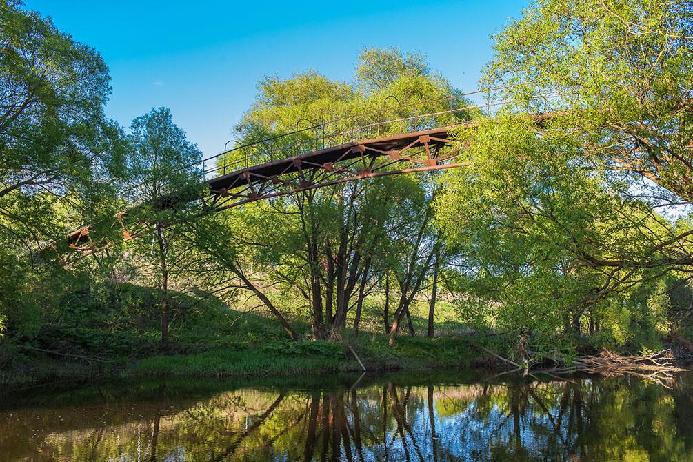 Весна, поля картофеля, борозды, текстуры, Шкинь, Северка, арочный мост