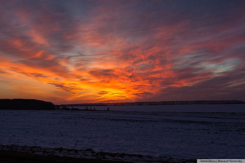 Московская область, зима, закат, небо, облака, красиво