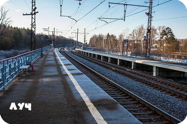 Московская область, Курское направление МЖД, платформа Луч, весна, мороз