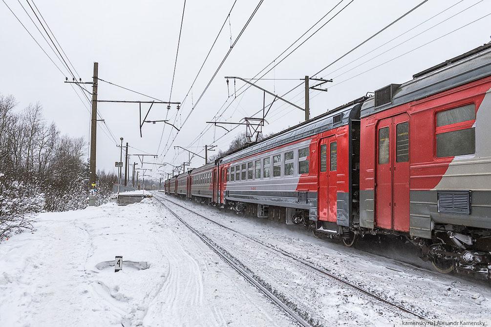 Московская область, Павелецкое направление, зима, электропоезда